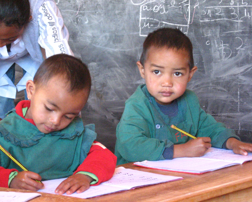 Children at Madagascar school.